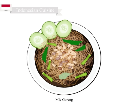 Indonesian Cuisine, Mie Goreng or Traditional Stir Fried Noodles. One of The Most Popular Dish in Indonesia.