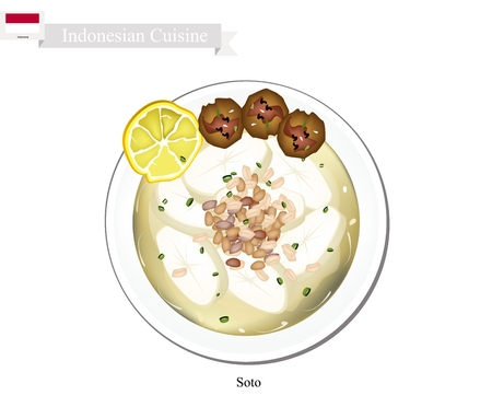 chicken dish: Indonesian Cuisine, Traditional Chicken Soup with Meat. One of The Most Famous Dish in Indonesia.