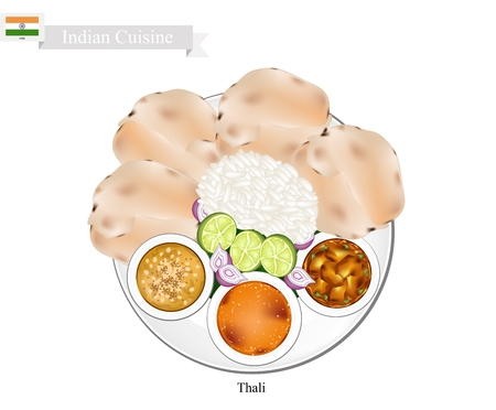 Indian Cuisine, Thali or Traditional Steamed Rice and Flatbread Served with Indian Bean Soup, Sambar and Curry Stew. One of The Most Popular Dish in India.