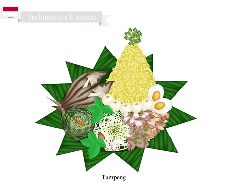 Indonesian Cuisine, Tumpeng or Traditional Cone Shaped Curry Rice with Cooked Egg, Fried Fish and Vegetables, One of The Most Popular Food of Indonesian. Illustration