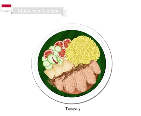 Indonesian Cuisine, Tumpeng or Traditional Yellow Curry Rice with Deep Fried Pork Cutlet, Tofu and Vegetables, One of The Most Popular Food of Indonesian.