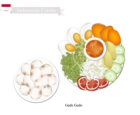 Indonesian Cuisine, Gado Gado or Traditional Vegetable Salad with Peanut Sauce, One of The Most Popular Dish of Indonesia.