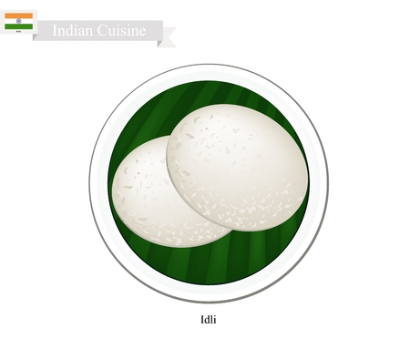 spongy: Indian Cuisine, Illustration of Idli or Traditional Steamed Soft and Spongy Rice Cake. One of The Most Popular Dish in India.