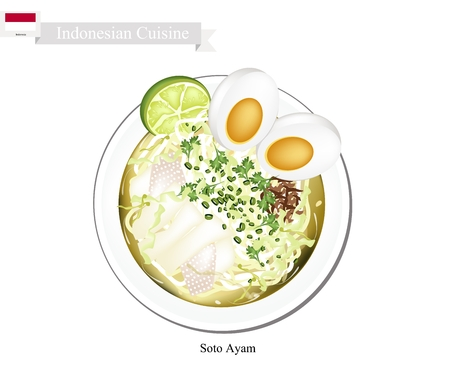 thai noodle: Indonesian Cuisine, Soto Ayam or Traditional Rice Noodle in Spicy Soup with Chicken and Boiled Egg. One of The Most Popular Dish in Indonesia.