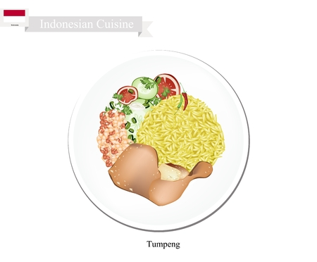 Indonesian Cuisine, Tumpeng or Traditional Yellow Curry Rice with Fried Chicken, Nuts and Vegetables, One of The Most Popular Food of Indonesian.