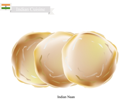 Indian Cuisine, Illustration of Naan or Traditional Crispy Flat Bread. One of Most Popular Dish in India. Illustration