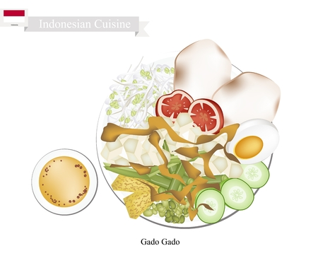 Indonesian Cuisine, Gado Gado or Traditional Vegetable Salad with Peanut Dressing, One of The Most Popular Dish of Indonesia.