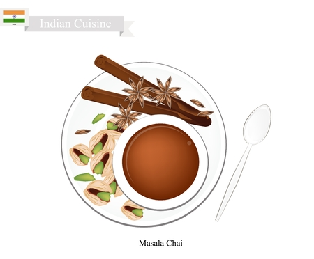 chai: Indian Cuisine, Masala Chai or Traditional Black Hot Sweet Tea with Spices. One of The Most Popular Beverage in India. Illustration