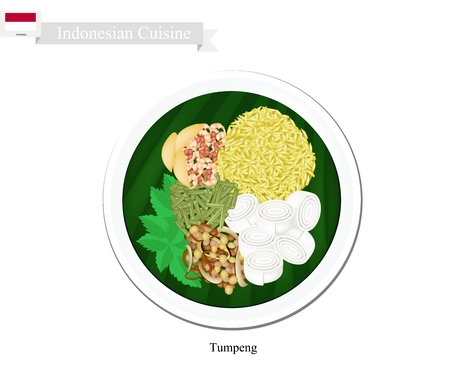 Indonesian Cuisine, Tumpeng or Traditional Yellow Curry Rice with Wide Rice Noodle, Nuts and Vegetables, One of The Most Popular Food of Indonesian. Illustration