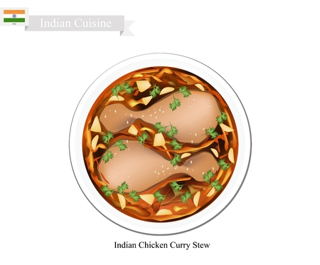 curry: Indian Cuisine, Traditional Indian Chicken Curry Stew. One of The Most Popular Dish in India.