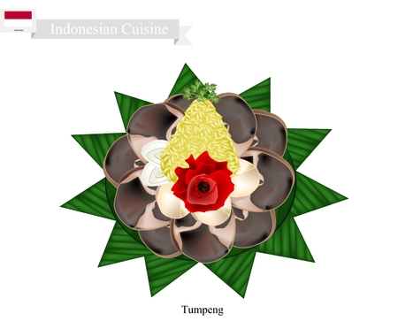 Indonesian Cuisine, Tumpeng or Traditional Cone Shaped Curry Rice with Barbecue Meat, One of The Most Popular Food of Indonesian.