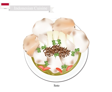 popular soup: Indonesian Cuisine, Traditional Chicken Soup with Meat and Vegetables. One of The Most Popular Dish in Indonesia. Illustration