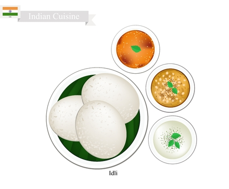 chutney: Indian Cuisine, Illustration of Idli or Traditional Steamed Soft and Spongy Rice Cake Served with Sambar, Coconut Chutney and Dal Tadka. One of The Most Popular Dish in India.