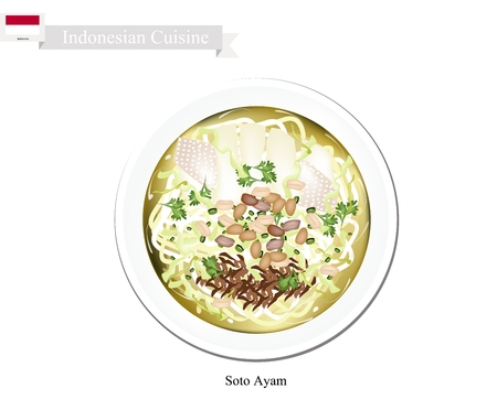 broth: Indonesian Cuisine, Soto Ayam or Traditional Rice Noodle in Spicy Soup. One of The Most Popular Dish in Indonesia. Illustration