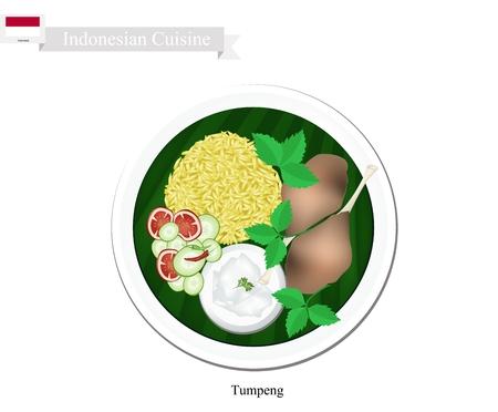 Indonesische Keuken, Tumpeng of Traditional gele curry Rijst met Fried Chicken, een van de meest populaire gerechten van Indonesisch.