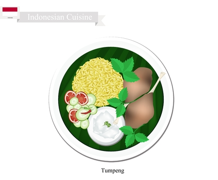 Indonesian Cuisine, Tumpeng or Traditional Yellow Curry Rice with Fried Chicken, One of The Most Popular Food of Indonesian.