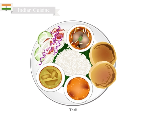 Indian Cuisine, Thali or Traditional Steamed Rice and Flatbread Served with Indian Bean Soup, Sambar and Curry Stew. One of The Most Famous Dish in India. Illustration