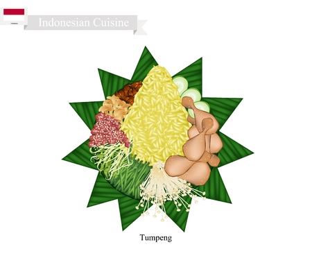indonesian: Indonesian Cuisine, Tumpeng or Traditional Cone Shaped Curry Rice with Fried Chicken and Vegetables, One of The Most Popular Food of Indonesian. Stock Photo