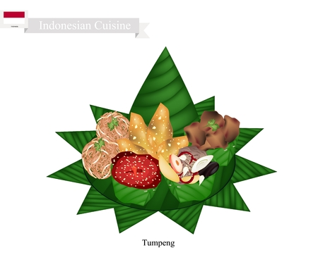 curry rice: Indonesian Cuisine, Tumpeng or Traditional Cone Shaped Curry Rice with Barbecue Meat, Fish Balls and Crispy Noodles, One of The Most Popular Food of Indonesian.
