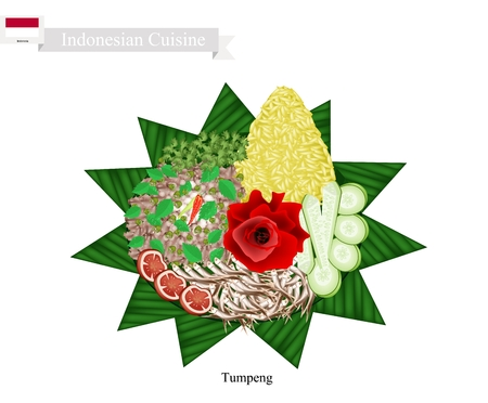 curry rice: Indonesian Cuisine, Tumpeng or Traditional Cone Shaped Curry Rice with Anchovies Fish and Vegetables, One of The Most Popular Food of Indonesian.