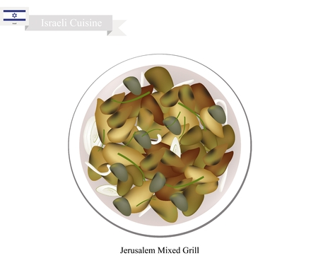 israel jerusalem: Israeli Cuisine, Jerusalem Mixed Grill or Traditional Grilled Meat with Hearts, Spleens and Liver. One of Most Popular Dish in Israel. Illustration