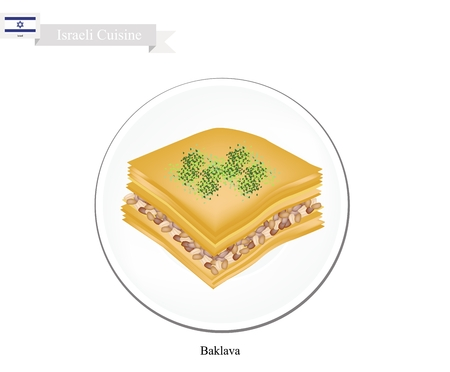 puff pastry: Israeli Cuisine, Baklava or Traditional Phyllo Dough Topping with Pistachio and Syrup. One of The Most Popular Dessert in Israel.