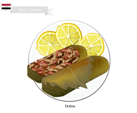 Iraqi Cuisine, Dolma or Traditional Cooked Rice and Meat Wrapped in Grape Leaves. One of The Most Popular Dish of Iraq. Ilustração