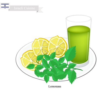 israeli: Israeli Cuisine, Lemonana or Traditional Squeezed Lemonade and Spearmint Leaves. One of The Most Popular Drink in Israeli. Illustration