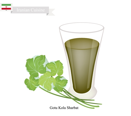 asiatic: Iranian Cuisine, Gotu Kola Sharbat or Traditional Drink Made From Gotu Kola Leaves and Aromatic Syrup. One of The Most Popular Drink in Iran.