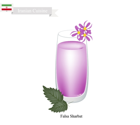 aromatic: Iranian Cuisine, Falsa Sharbat or Traditional Drink Made From Grewia Asiatica and Aromatic Syrup. One of The Most Popular Drink in Iran.