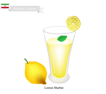 sherbet: Iranian Cuisine, Lemon Sharbat or Traditional Drink Made From Lemon and Aromatic Syrup. One of The Most Popular Drink in Iran.