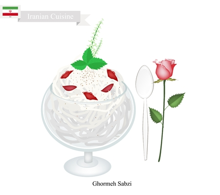 lime juice: Iranian Cuisine, Faludeh or Traditional Cold Dessert Made From Rice Noodle, Syrup, Lime Juice and Rose Water. One of The Most Popular Dessert in Iran.