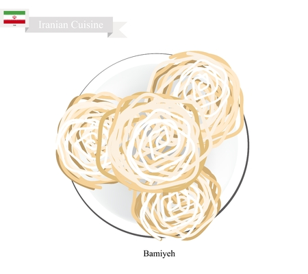 iranian: Iranian Cuisine, Bamiyeh or Traditional Doughnut Made From Yogurt and Starch Based Dough Fried in Syrup. One of The Most Popular Dessert in Iran.