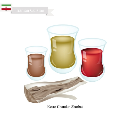 Iranian Cuisine, Kesar Chandan Sharbat or Traditional Drink Made From Saffron, Sandalwood and Aromatic Syrup. One of The Most Popular Drink in Iran.