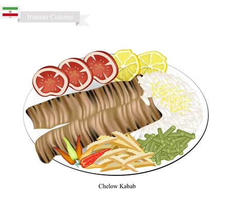 kabab: Iranian Cuisine, Illustration of Chelow Kabab or Traditional Barbecue with Steamed Saffroned Basmati and Vegetables. The National Dish of Iran. Illustration