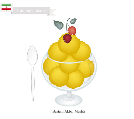 iranian: Iranian Cuisine, Bastani Akbar Mashti or Traditional Persian Ice Cream Made From Milk, Eggs, Sugar, Rose Water and Saffron. One of The Most Popular Dessert in Iran.