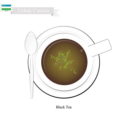 black tea: Uzbek Cuisine, Illustration of Traditional Black Tea and Boiled Water. A Popular Beverage in Uzbekistan.