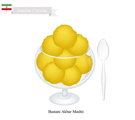 iranian: Iranian Cuisine, Bastani Akbar Mashti or Traditional Ice Cream Made From Milk, Eggs, Sugar, Rose Water and Saffron. One of The Most Popular Dessert in Iran. Illustration