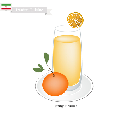 ramzaan: Iranian Cuisine, Orange Sharbat or Traditional Drink Made From Orange and Aromatic Syrup. One of The Most Popular Drink in Iran.