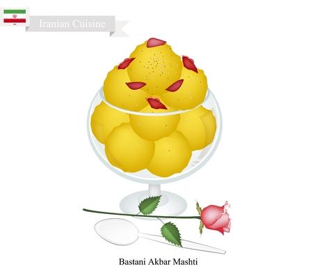 iranian: Iranian Cuisine, Bastani Akbar Mashti or Traditional Ice Cream Made From Milk, Eggs, Sugar, Rose Water and Saffron. One of The Most Famous Dessert in Iran. Illustration