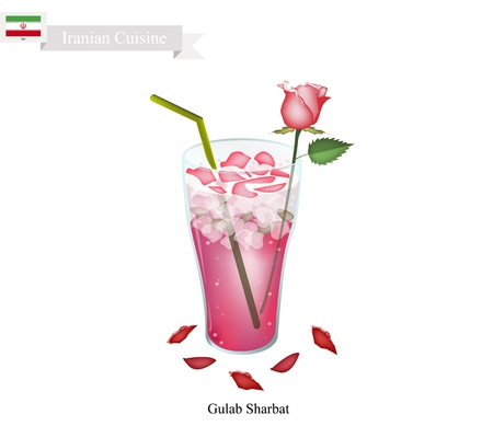 sherbet: Iranian Cuisine, Gulab Sharbat or Traditional Drink Made From Rose Petals and Aromatic Syrup. One of The Most Popular Drink in Iran.