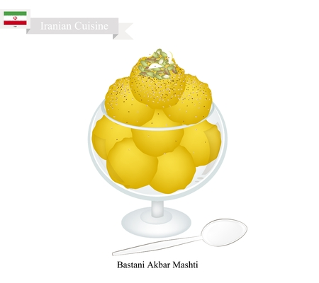 saffron: Iranian Cuisine, Bastani Akbar Mashti or Traditional Persian Ice Cream Made From Milk, Eggs, Sugar, Rose Water and Saffron. One of The Most Famous Dessert in Iran. Illustration