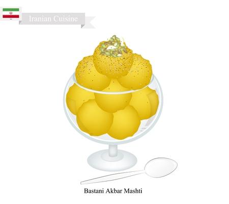 iranian: Iranian Cuisine, Bastani Akbar Mashti or Traditional Persian Ice Cream Made From Milk, Eggs, Sugar, Rose Water and Saffron. One of The Most Famous Dessert in Iran. Illustration