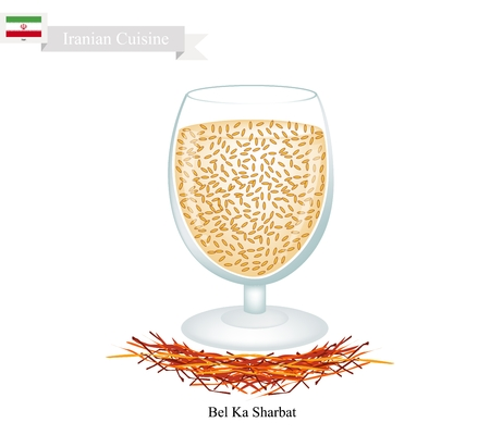 aromatic: Iranian Cuisine, Bel Ka Sharbat or Traditional Drink Made From Wood Apple Fruit and Aromatic Syrup. One of The Most Popular Drink in Iran.
