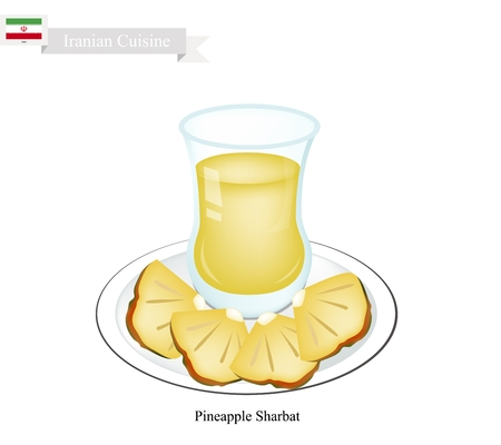 ramzaan: Iranian Cuisine, Pineapple Sharbat or Traditional Drink Made From Pineapple and Aromatic Syrup. One of The Most Popular Drink in Iran. Illustration