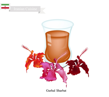 iranian: Iranian Cuisine, Gurhal Sharbat or Traditional Drink Made From Hibiscus Petals and Aromatic Syrup. One of The Most Popular Drink in Iran.