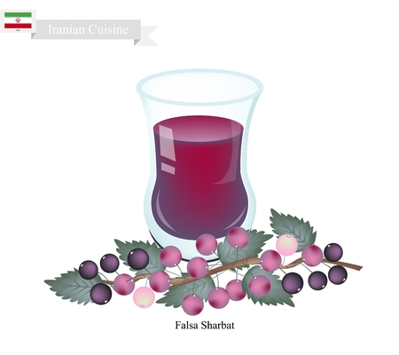 sherbet: Iranian Cuisine, Falsa Sharbat or Traditional Drink Made From Grewia Asiatica and Aromatic Syrup. One of The Most Famous Drink in Iran.