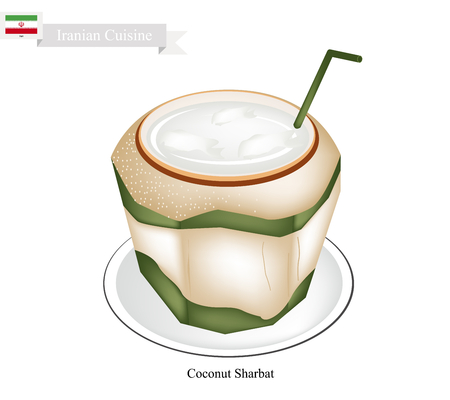 ramzaan: Iranian Cuisine, Sharbat or Traditional Drink Made From Coconut and Aromatic Syrup. One of The Most Popular Drink in Iran.