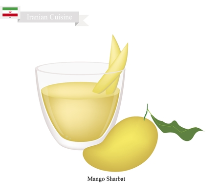 iftar: Iranian Cuisine, Mango Sharbat or Traditional Drink Made From Mango and Aromatic Syrup. One of The Most Popular Drink in Iran.