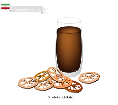 ramzaan: Iranian Cuisine, Sharbat-e Khakshir or Traditional Drink Made From Turmeric, Saffron and Aromatic Syrup. One of The Most Popular Drink in Iran.